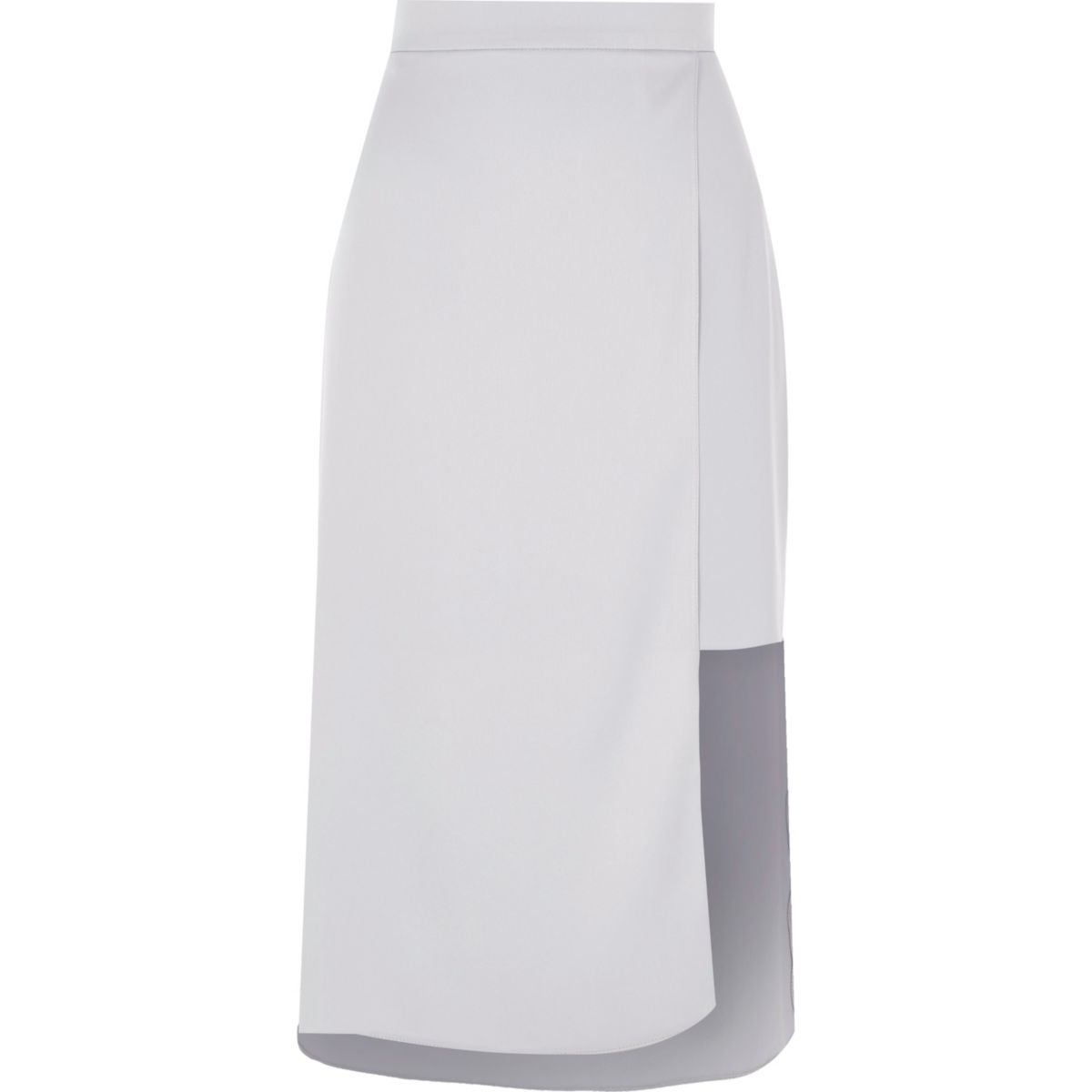 Light blue asymmetric hem midi skirt
