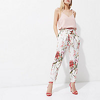 Petite cream floral print tapered pants