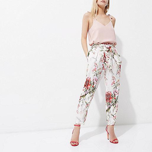 Petite cream floral print tapered pants