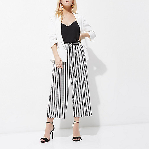 Petite beige stripe print culottes