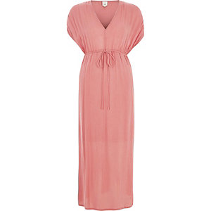 Light pink ruched maxi dress