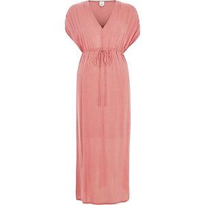 Robe longue rose clair à fronces