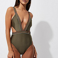 Khaki saddle stitch plunge cut out swimsuit
