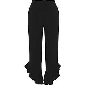 Black frill hem straight leg cropped pants