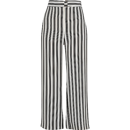 Black stripe print wide leg trousers