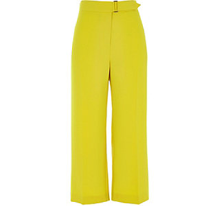 Yellow belted culottes