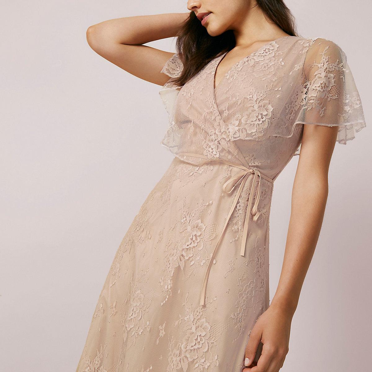 Light pink lace asymmetric hem midi dress - Swing Dresses - Dresses - women 68fbd35fe