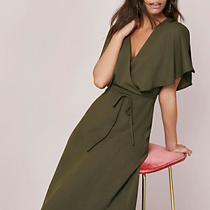 Khaki green tie waist wrap midi dress