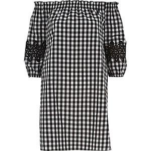 Robe Bardot évasée à carreaux vichy noire