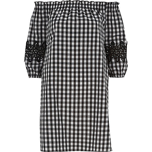 Black gingham check bardot swing dress