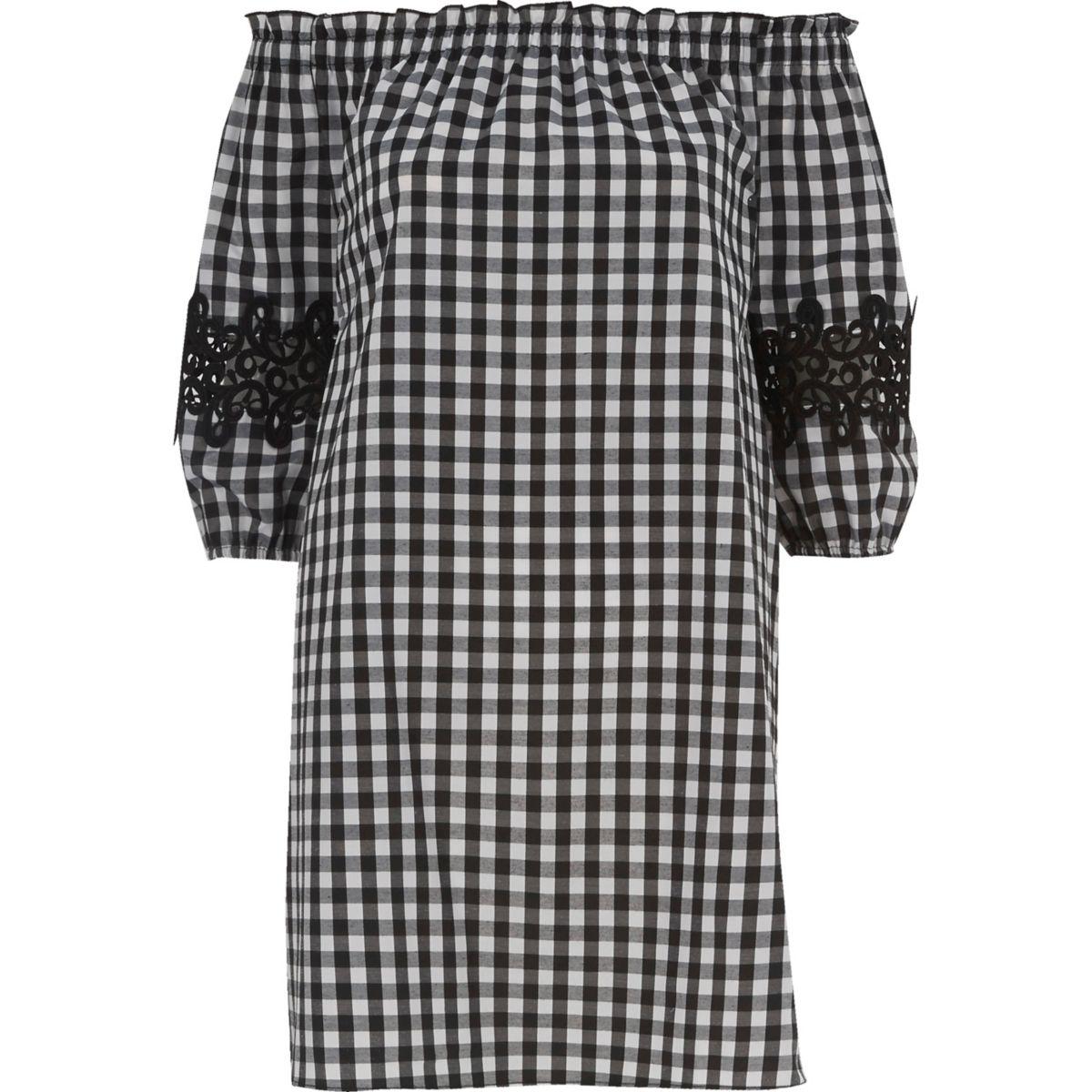 Black gingham check bardot swing dress