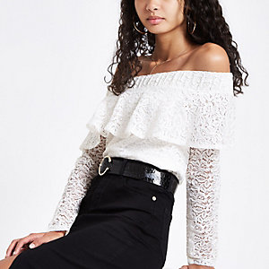Cream lace frill bardot long sleeve top