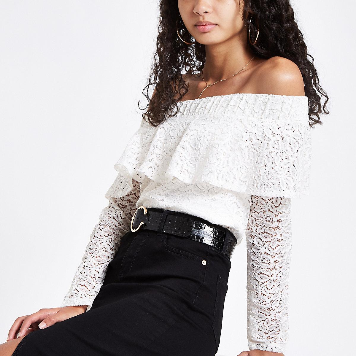 Cream lace frill bardot long sleeve top