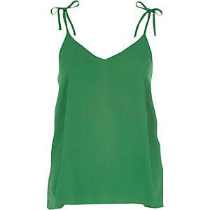 Green bow shoulder cami top