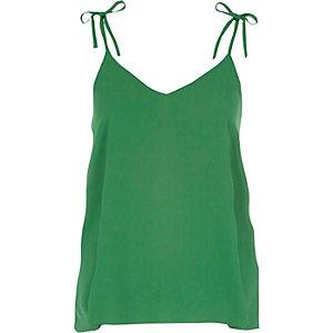 Green bow shoulder cami top