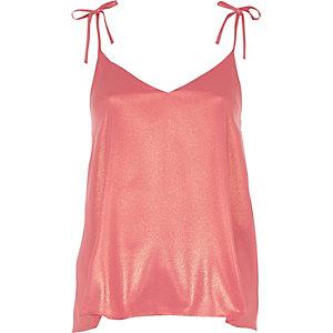 Caraco rose métallisé avec nœud sur l'épaule