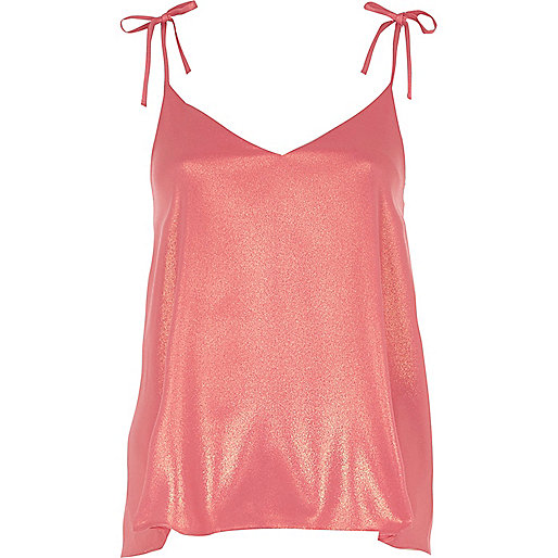 Pink metallic bow shoulder cami top