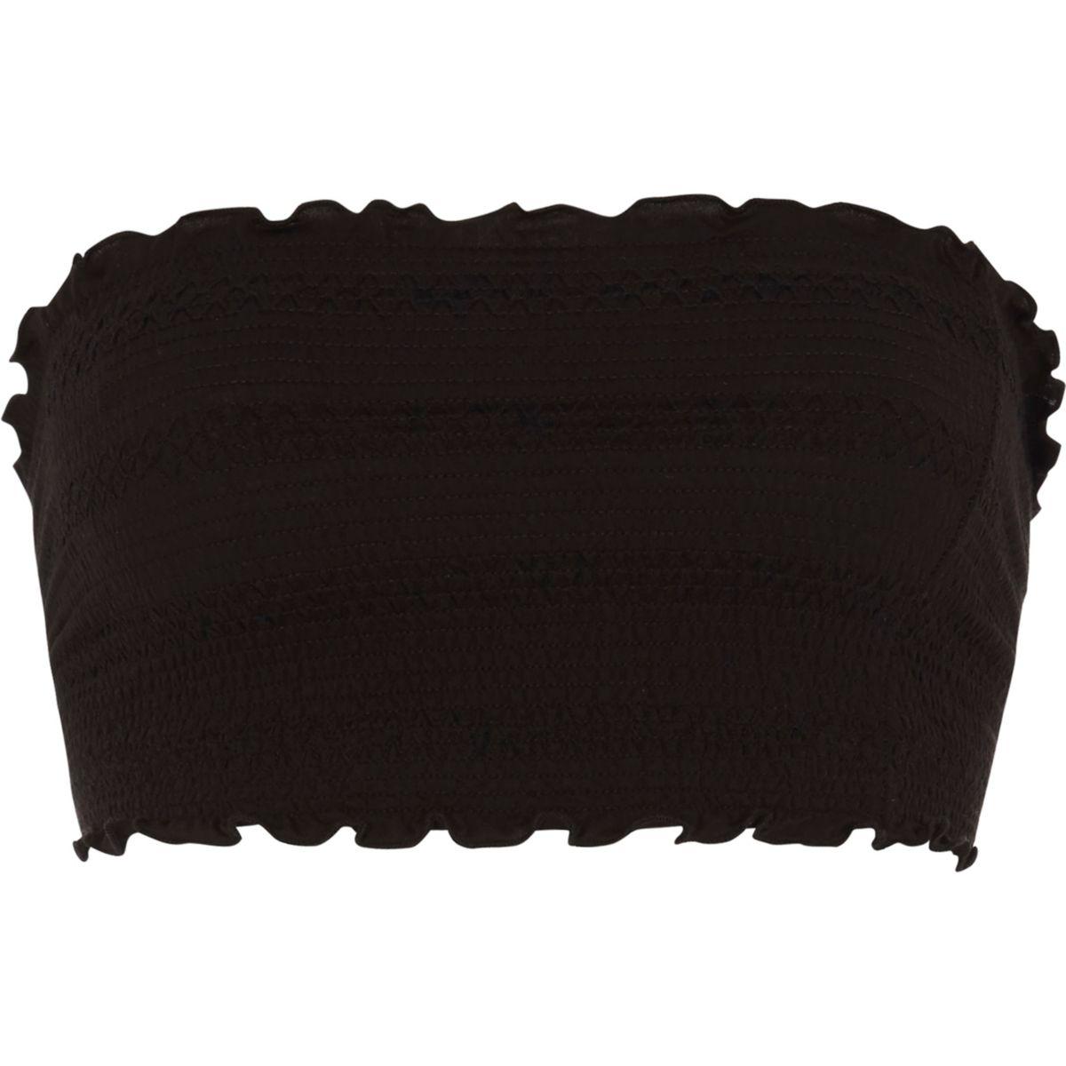 Crop top bandeau noir plissé