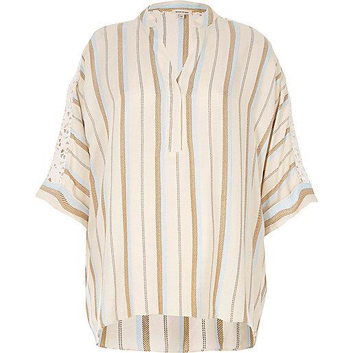 Cream stripe crochet sleeve top