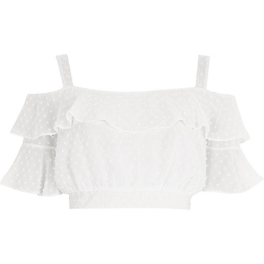 White dobby cold shoulder frill crop top