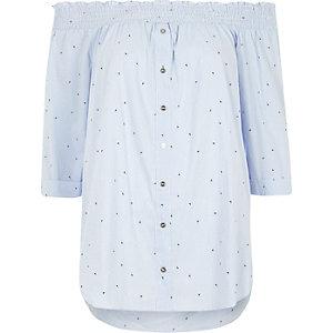 Blaues Bardot-Hemd mit Pfeilprint