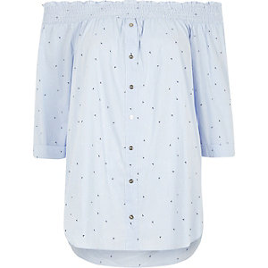 Blue arrow print shirred bardot shirt