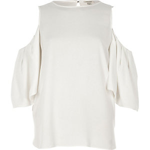 Cream gathered cold shoulder top