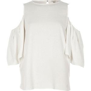Cream gathered cold shoulder top
