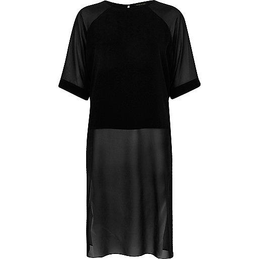 Black chiffon raglan longline side split top