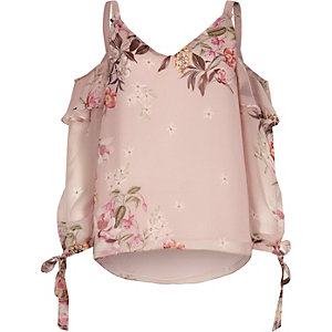 Pink floral cold shoulder split sleeve top