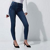Harper - Blauwe skinny jeans met hoge taille