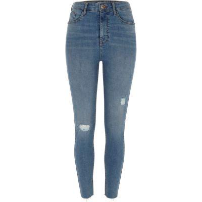 Harper Blauwe ripped skinny jeans met hoge taille