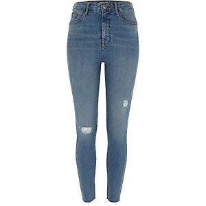 Harper - Blauwe ripped skinny jeans met hoge taille