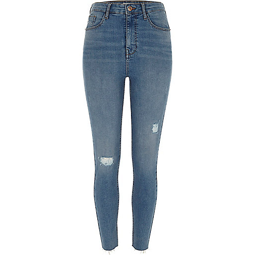 Blue ripped Harper high waisted skinny jeans