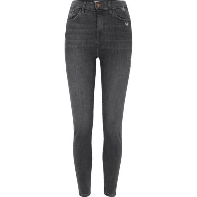 Harper Donkergrijze skinny jeans met hoge taille