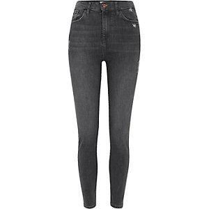 Harper – Dunkelgraue Skinny Jeans mit hohem Bund