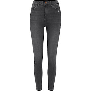 Harper - Donkergrijze skinny jeans met hoge taille