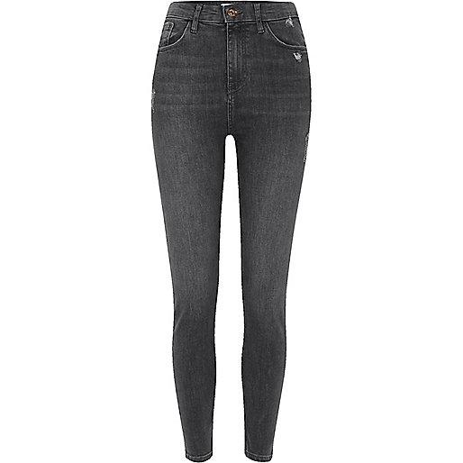 Dark grey Harper high waisted skinny jeans