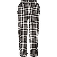 Black check frill hem cropped pants