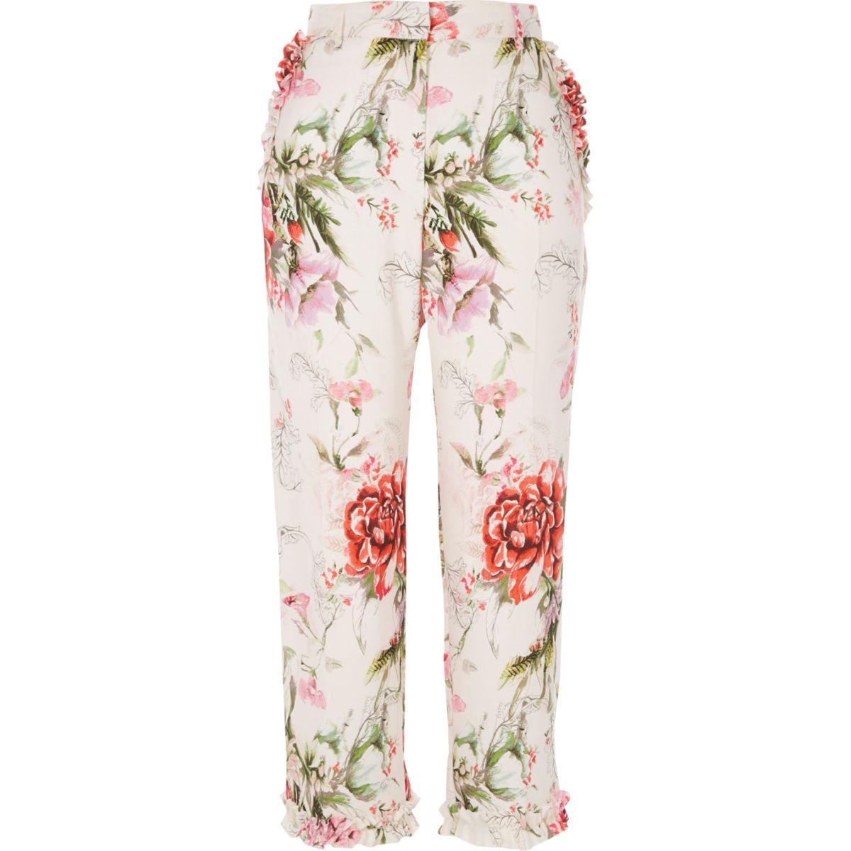 Pink floral cropped straight leg trousers