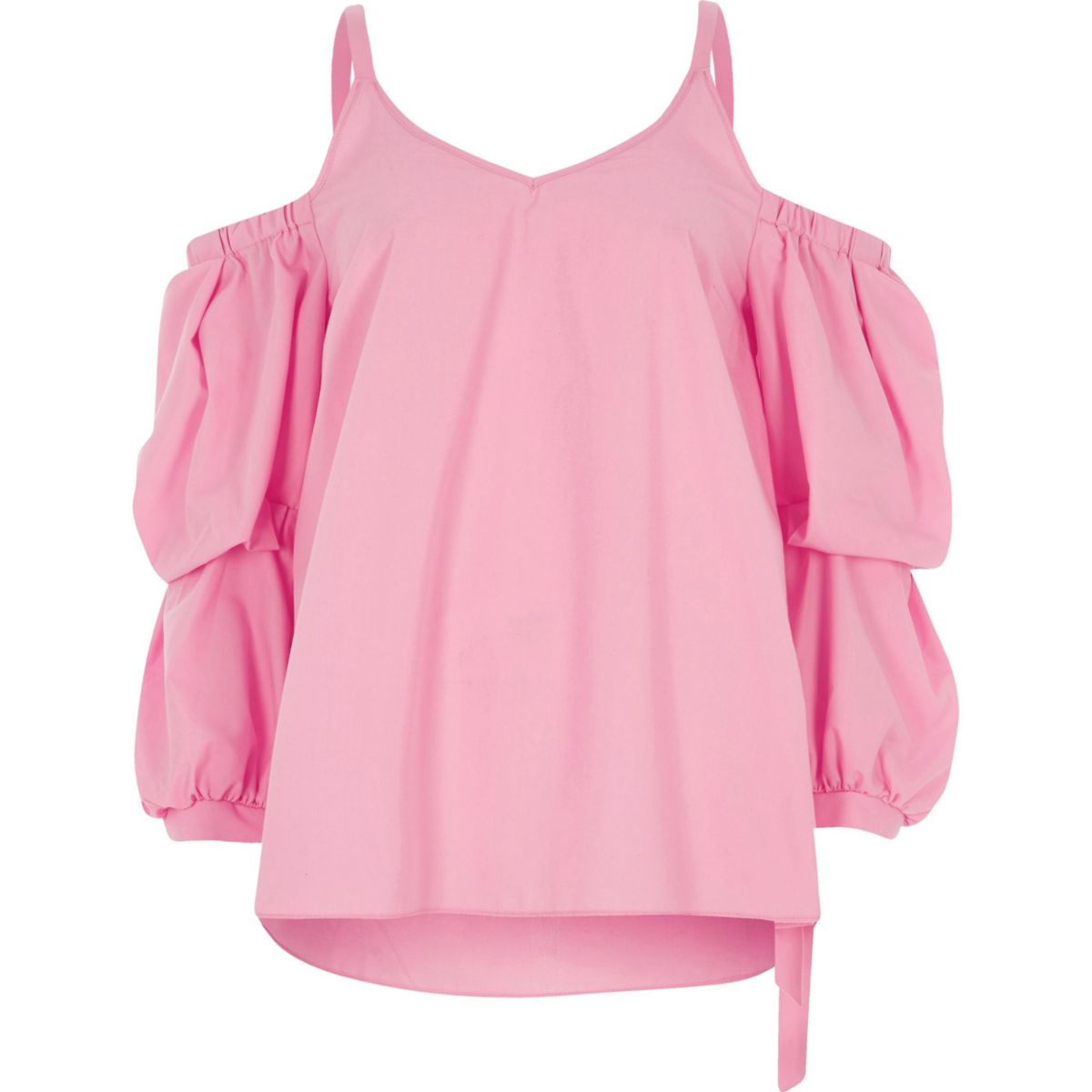 Pink puff sleeve cold shoulder top