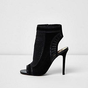 Zwarte geweven schoenlaarsjes