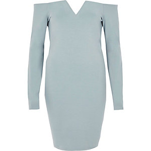 Light blue bardot long sleeve bodycon dress