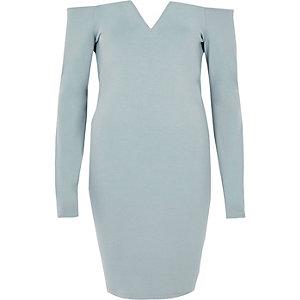 Robe moulante Bardot bleu clair à manches longues