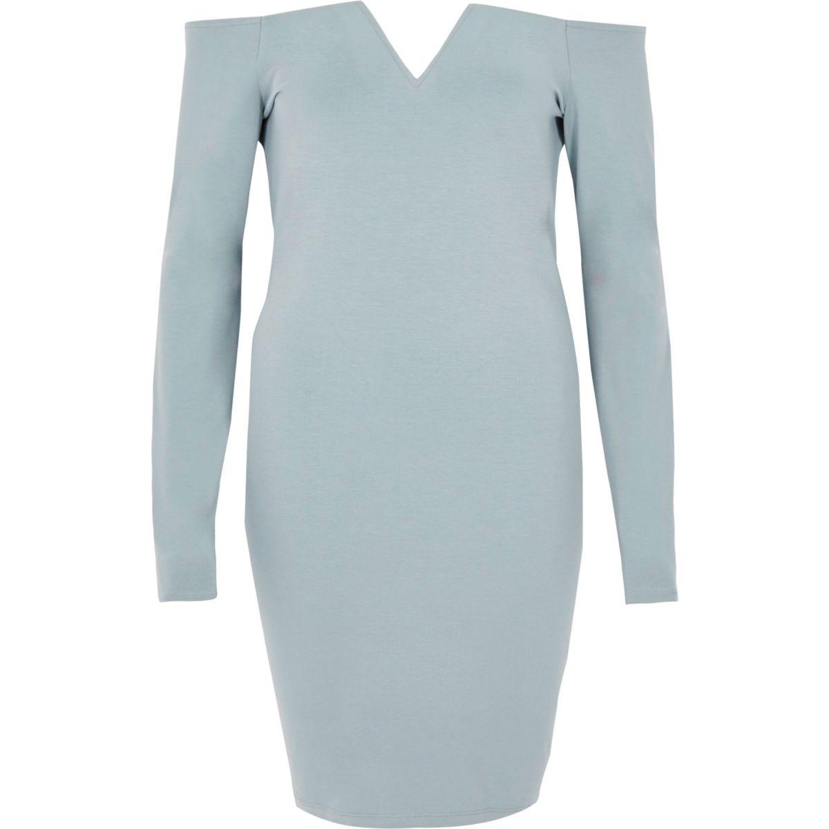 Light blue bardot long sleeve bodycon dress