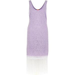 Robe débardeur violet clair effet usé à bordure frangée