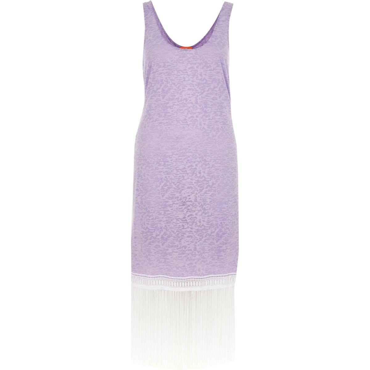 Light purple burnout fringe trim tank dress
