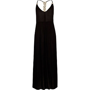 Black ring back cami maxi beach dress