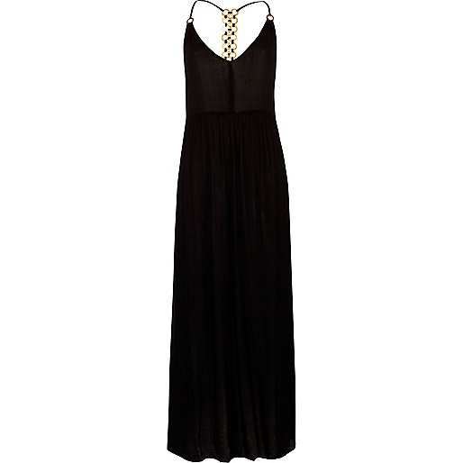 Black ring back cami maxi beach dress