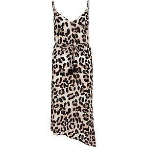 Robe de plage caraco imprimé léopard marron